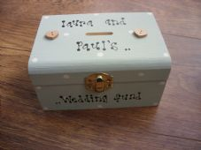 Shabby Wedding Fund chic Money Box. Personalised with any names. Engagement gift